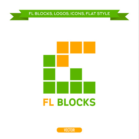 fl: Logo letter FL in the form of blocks and cube