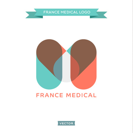 pharmacy pills: The letter M in the form of pills, medical and built the French flag, vector trend styles Illustration