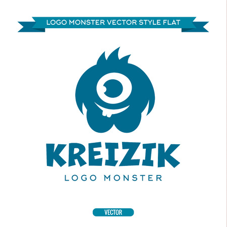 monster face: Cute blue monster character with a kind-eyed toothy logo