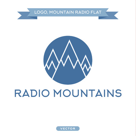 satellite transmitter: Radio signals, scale mountains, vector icon flat styles