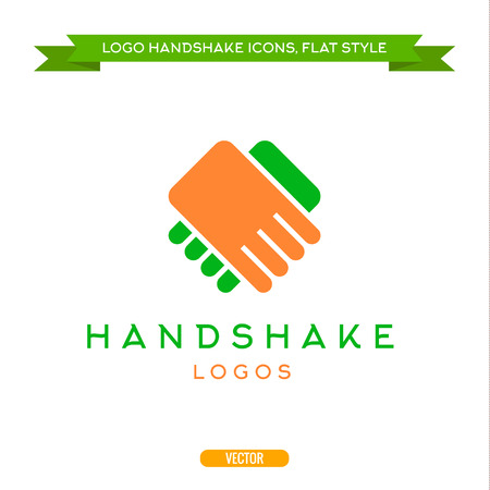 stretta di mano: Astratto logo vettoriale stretta di mano icone di stile piatto