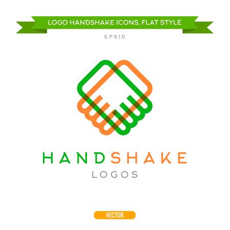 logo handshake: Abstract outline handshake vector logo flat style icons