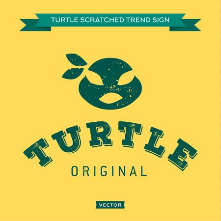 merrily: Bende Turtle bocca occhi verdi, muso, faccia, logo icona heros