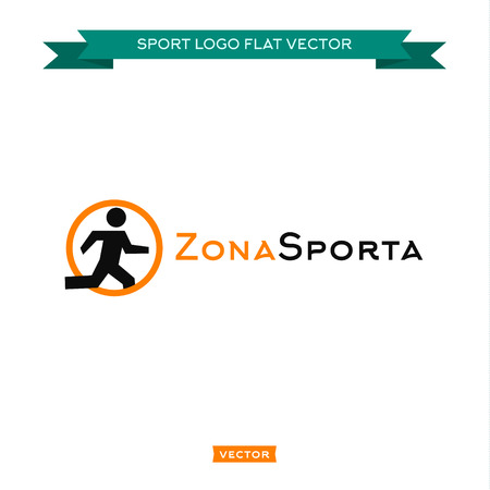 motivations: Icon running man logo in a circle, sitting, sports, motivations Illustration