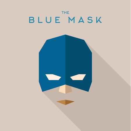 antifaz: Superh�roe m�scara azul en el logotipo del estilo plana Vectores