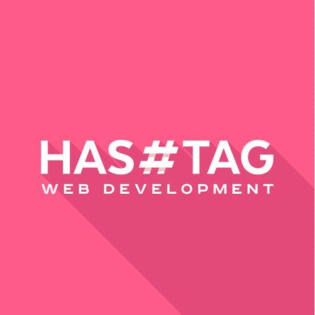 technology background: Logo concept hashtags, flat styles logos tag Illustration
