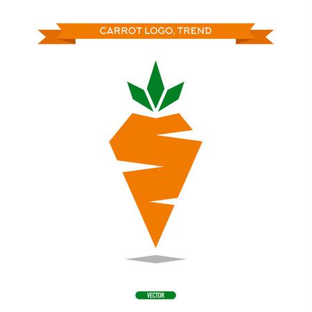 zanahoria: Zanahorias polígonos signos del estilo del icono del vector logo tendencia Vectores