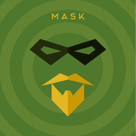 hero: Black mask beard mustache, superhero, green background, vector flat style illustrations