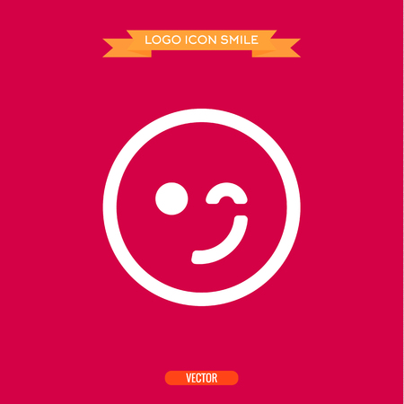 winking: logo winking smile icons vector illustration of a flats