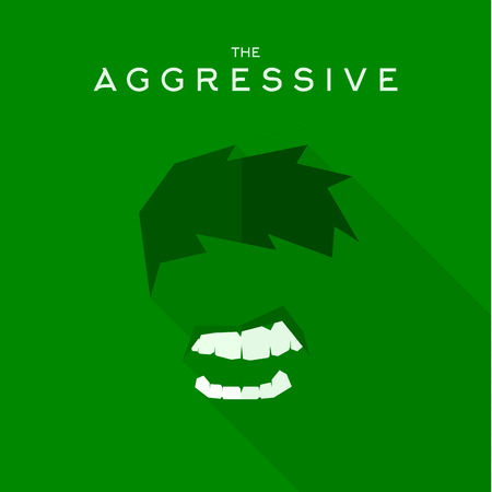 super hero: Mask Aggressive villain flat style icon vector , illustrations