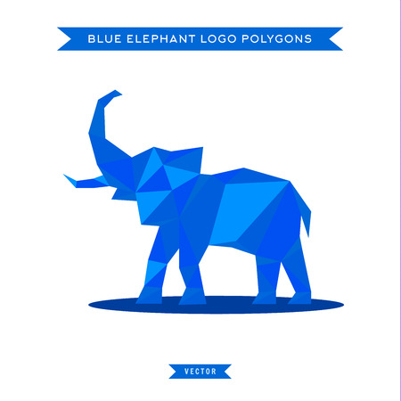 reflux: Elephant  with reflux and low poly geometry, vector illustrations Illustration