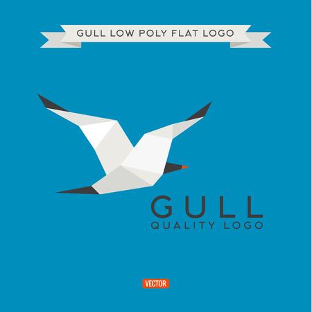 gull: Sea gull low poly, polygon,  illustration geometry