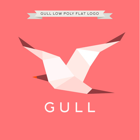 gull: Gull low poly, polygons,  illustration geometry