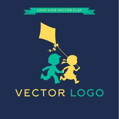 дети: Дети бегать и играть с кайтом, векторные иллюстрации икон