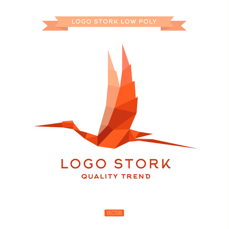 egret: Bird the style polygon low poly flat vector trend