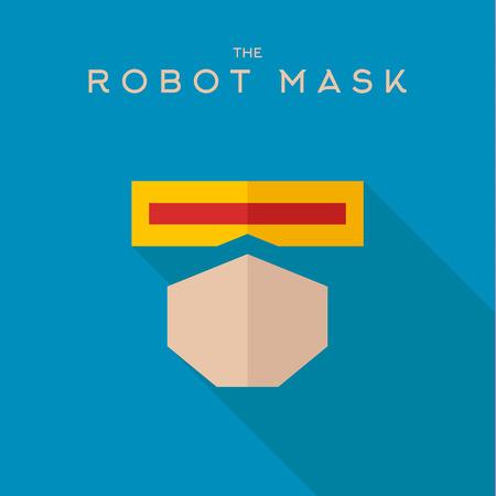 Masker robot Hero superheld flat stijlicoon vector logo, illustratie, schurken Stock Illustratie