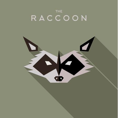 villain: Mask raccoon Hero superhero flat style icon vector logo, illustration, villain