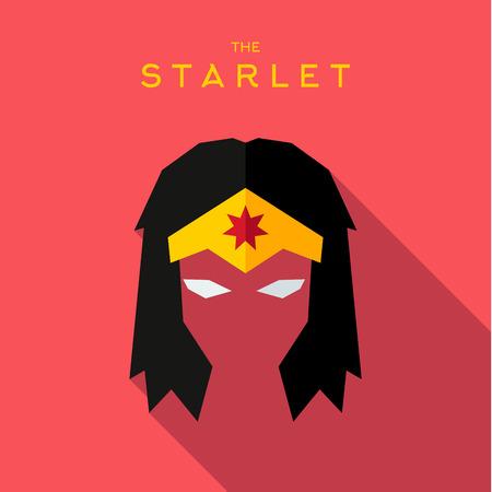 starlet: Mask starlet Hero superhero flat style icon vector logos, illustration, villain