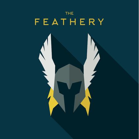 tollas: Mask feathery Hero superhero flat style icon vector logos, illustration, villain