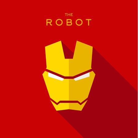 villain: Mask robot Hero superhero flat style icon vector logos illustration, villain