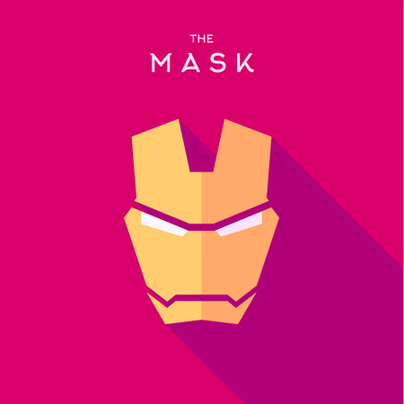 comics: Mask Hero superhero flat style icon vector logo, illustrations, villain Illustration