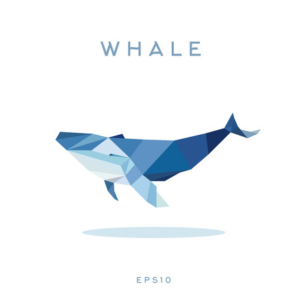 Whale Lowe roles polygons, vector illustration, logos Иллюстрация