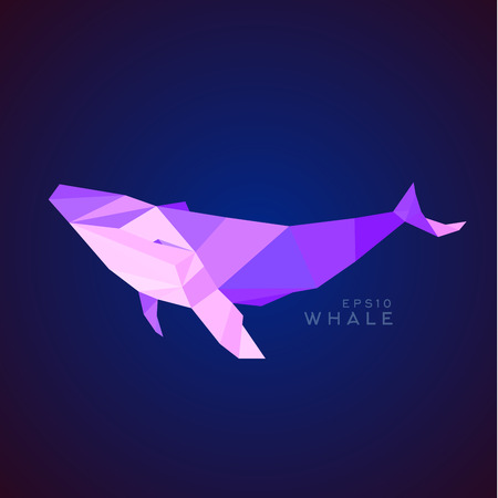 endangered species: Whale Lowe roles polygons, vector illustration, logos Illustration