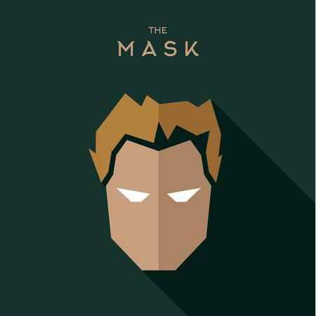 villain: Mask Hero superhero flat style icon vector logo, illustrations, villain Illustration