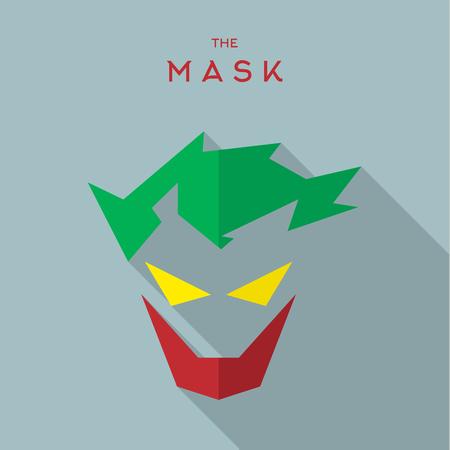 mascarilla: M�scara h�roe superh�roe estilo plana del vector del icono logotipo, ilustraci�n, villanos Vectores