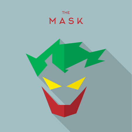 super hero: Mask Hero superhero flat style icon vector logo, illustration, villains
