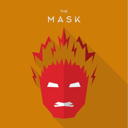 saviour: Mask Hero superhero flat style icon vector logo, illustration, villains