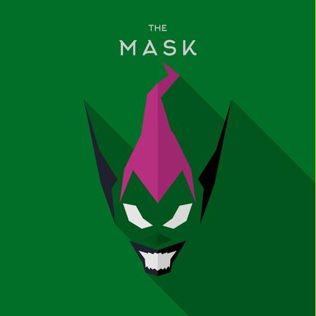 saviour: Mask villains Hero superhero skull flat style icon vector logo, illustration Illustration