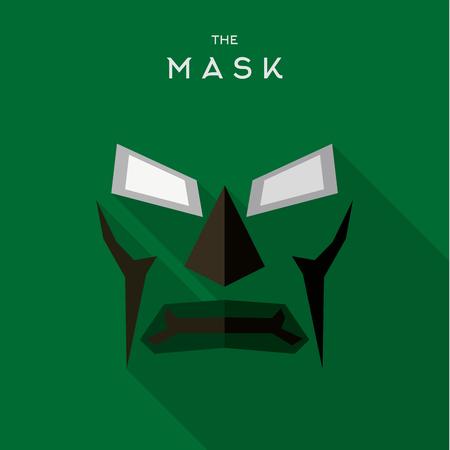 Mask Hero superhero flat style icon vector icon, illustration, villains