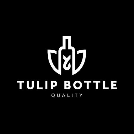 alcool: icône combiner fleur de tulipe avec le style de la bouteille dans la ligne contour vecteur de tendance illustration Illustration