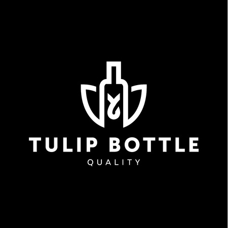 alcohol logo: icon combine tulip flower with bottle style in line outline trend vector illustration