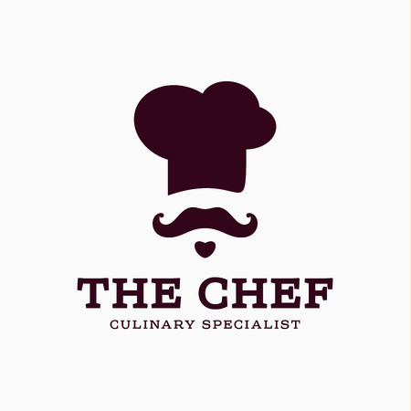 chef illustration: chef cook icon toque, chefs hat vector trend flat style brand mustache beard stylinga Illustration