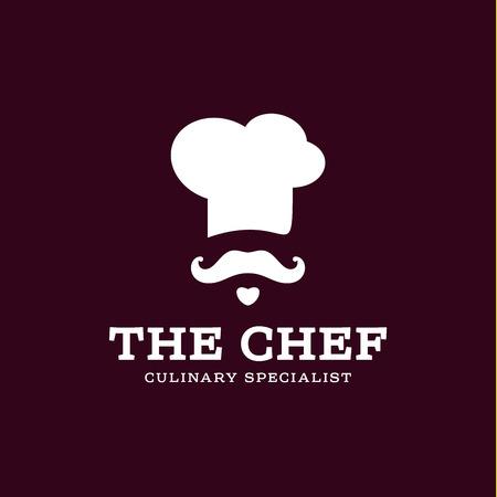 Chef-Koch-Symbol toque, Kochmütze Vektor-Trend Flach Artmarke Schnurrbart Bart