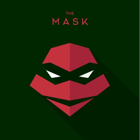 villain: Mask Hero superhero flat style icon vector, illustrations, villain Illustration