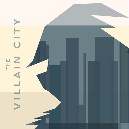 villain: villain man silhouette shadow helmet background city building skyscrapers flats Illustration