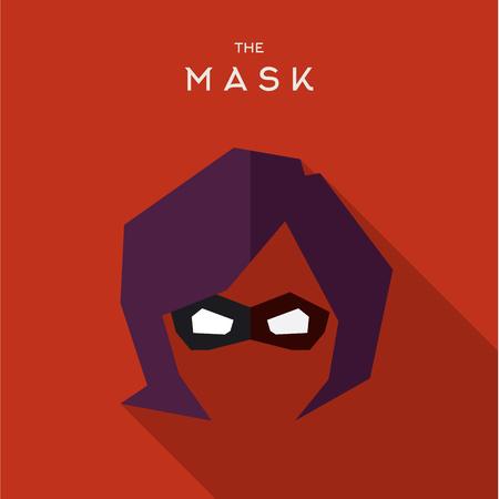 Masker Hero superheld flat stijlicoon vector logo, illustratie, schurken Stock Illustratie