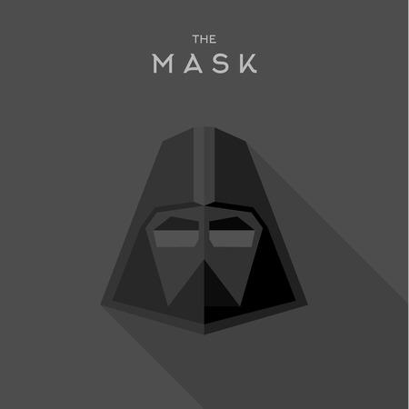 antifaz: M�scara h�roe superh�roe estilo plano logotipo del icono del vector, ilustraciones, villano Vectores