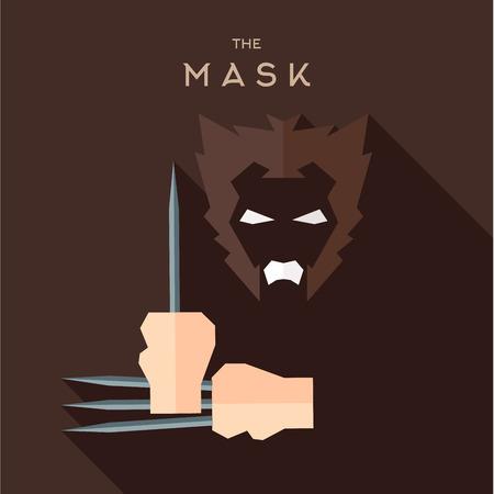 antifaz: M�scara h�roe superh�roe estilo plana del vector del icono logotipo, ilustraci�n, villanos Vectores