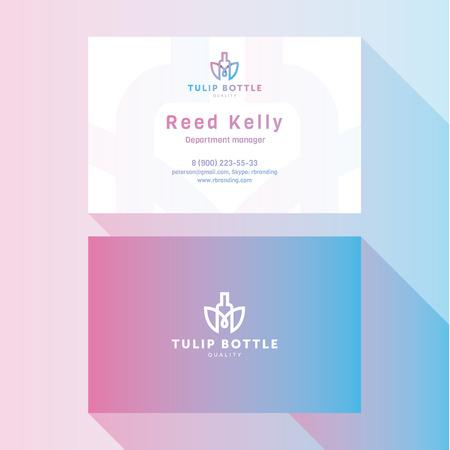 qualitative: Business Card Qualitative elegant vector logos, and professional layout tulip bottle