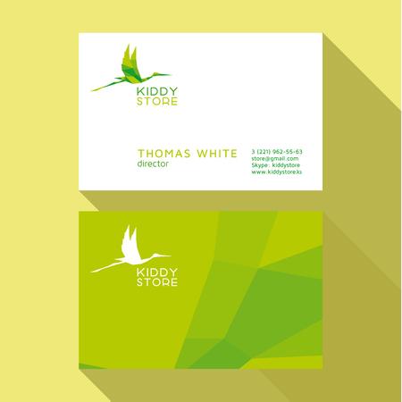 qualitative: Business Card Qualitative elegant vector logos stork, and professional layout