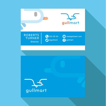 qualitative: Business Card seagull Qualitative elegant vectors logo, and professional layout Illustration