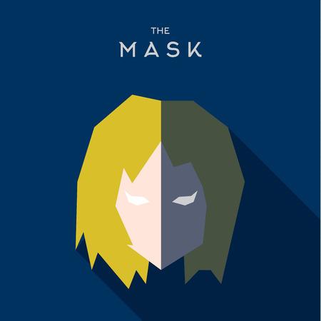 Mask flat Hero Villain superhero style icon vector logo illustrations Illusztráció