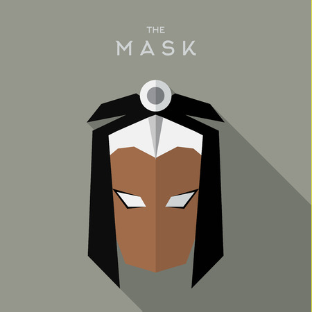 Masker flat Hero Villain superheld stijlicoon vector logo illustraties