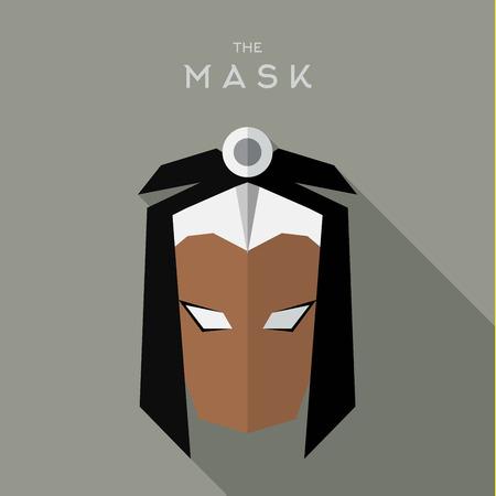 Mask flat Hero Villain superhero style icon vector logo illustrations Illustration