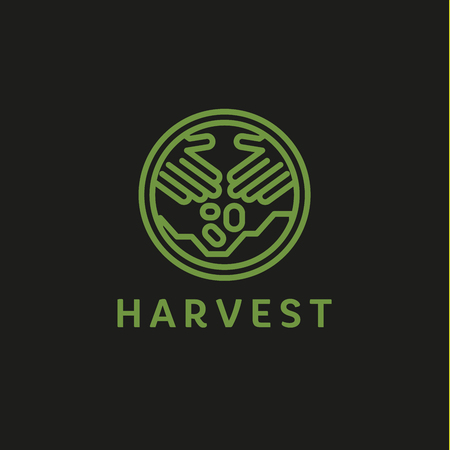 horticulture: Logo outline horticulture crop plant soil style flat trend icons quality Illustration