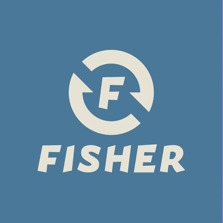 fisher: Logo abstract hook letter F, fisher flats trend